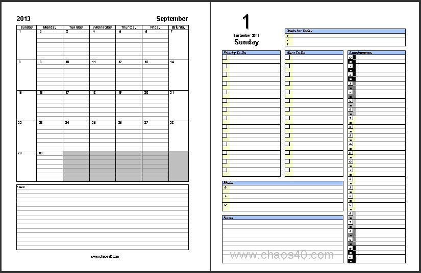 Free Download - September 2013 Daily Planner pages - Chaos40.com