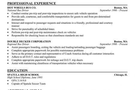 Transportation Resume | Jobs.billybullock.us
