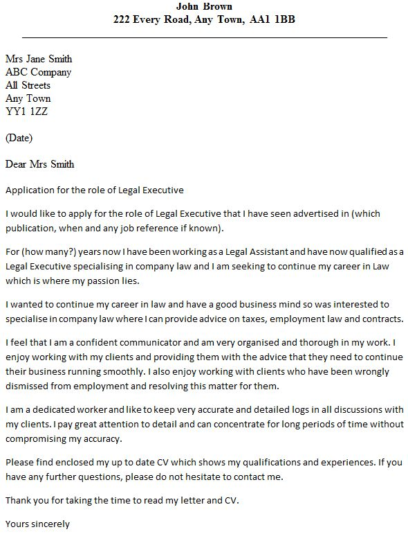 Legal Executive Cover Letter Example - icover.org.uk