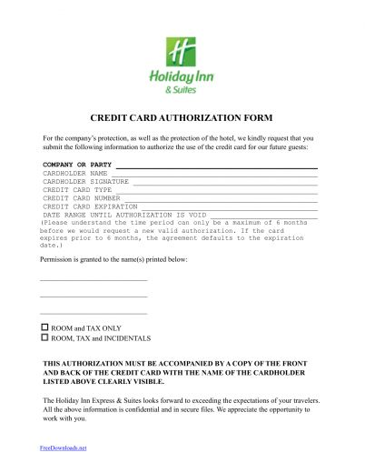 Download Holiday Inn Credit Card Authorization Form Template | PDF ...