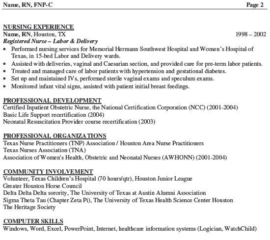 sample resume for nursing sample new rn resume sample nursing ...