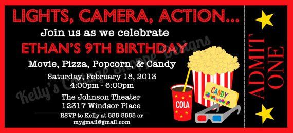 Movie Ticket Birthday Invitation Template  Free Printable Movie Ticket Invitations
