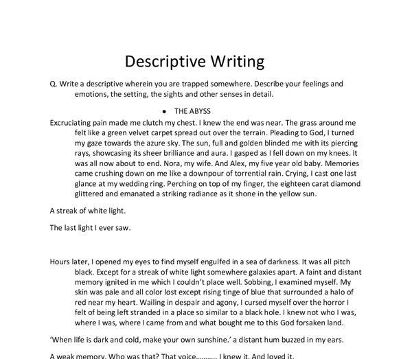 describe essay examples