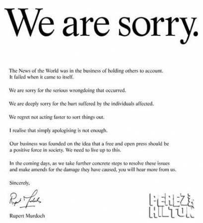 Rupert Murdoch Says He's Sorry | PerezHilton.com