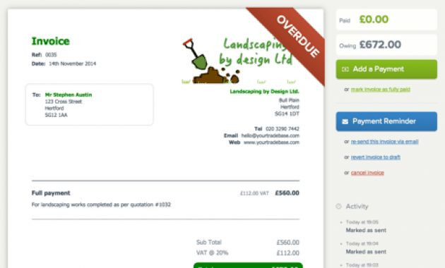 Landscape Billing Software – Template Design