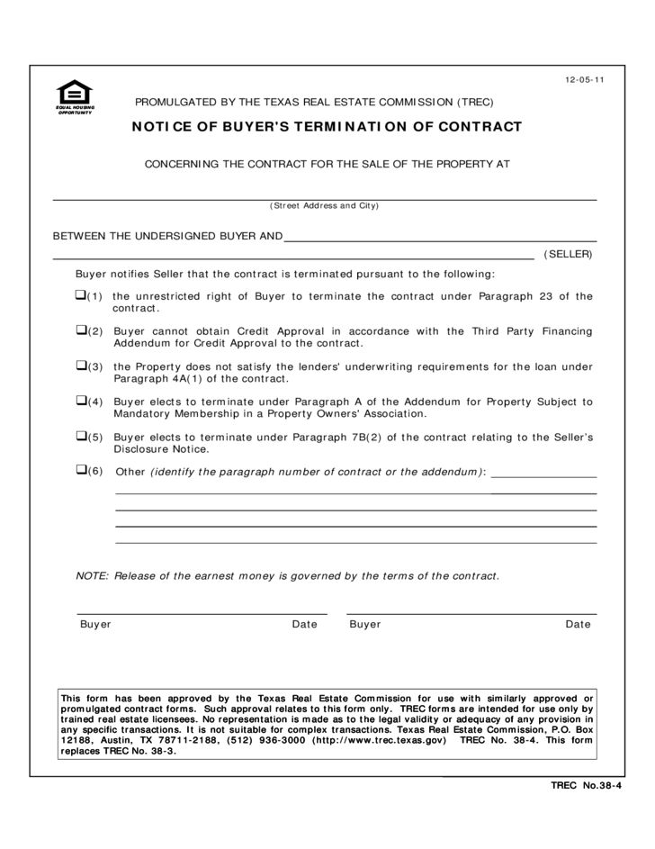 Cancellation of Contract Form - Texas Free Download