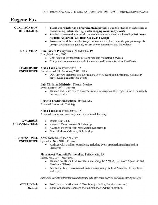 Planner Resume Format. event manager job description resume event ...