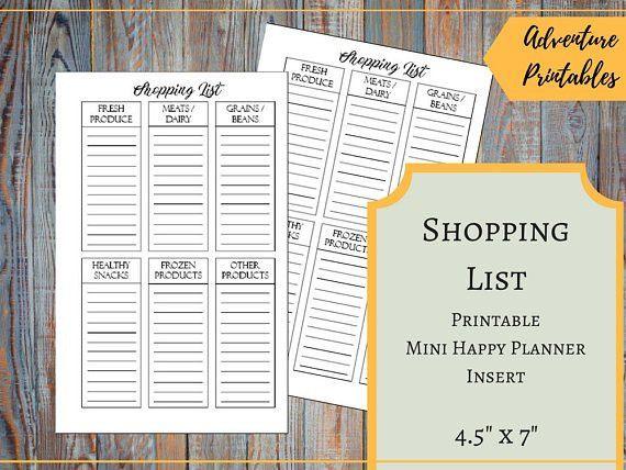 Shopping List Printable Insert for the Mini Happy Planner