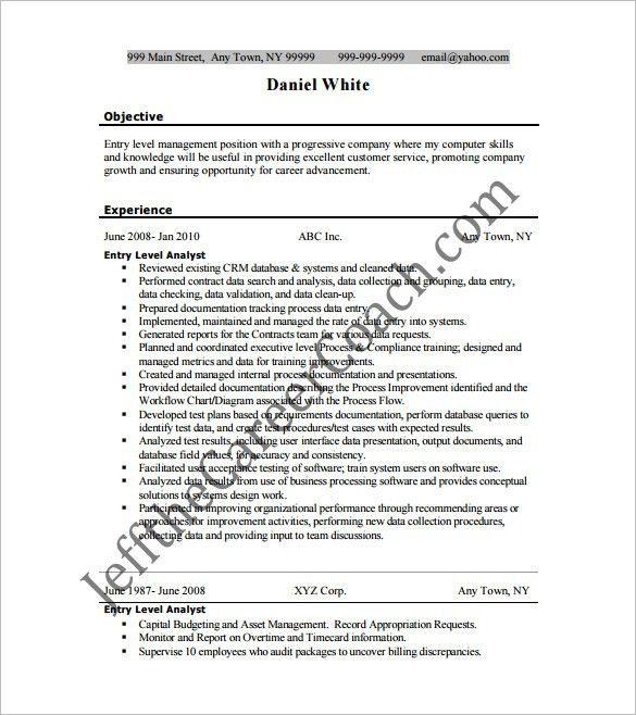 entry level analyst resume