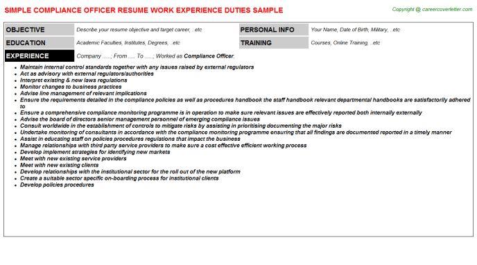 Compliance Officer Resume - Ecordura.com