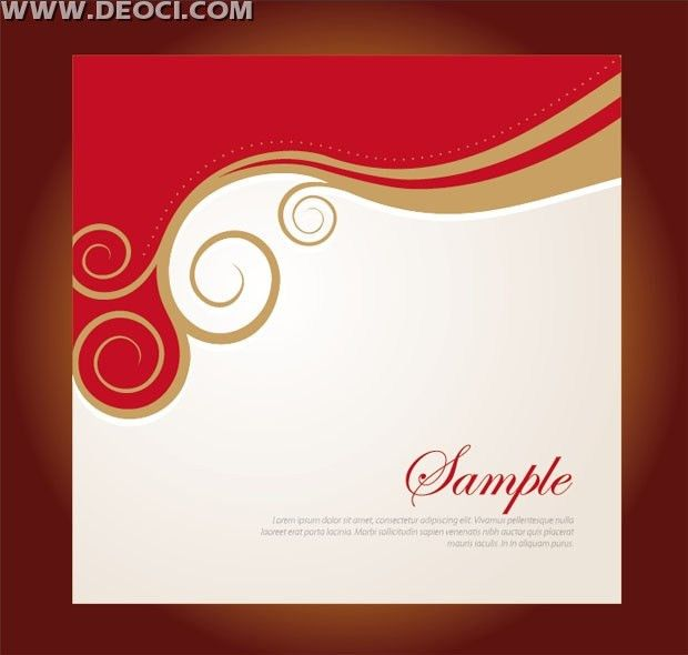 Vector red floral background design company album cover template ...