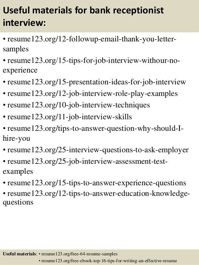 Top 8 bank receptionist resume samples
