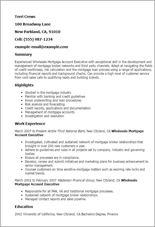Mortgage Account Executive Cover Letter