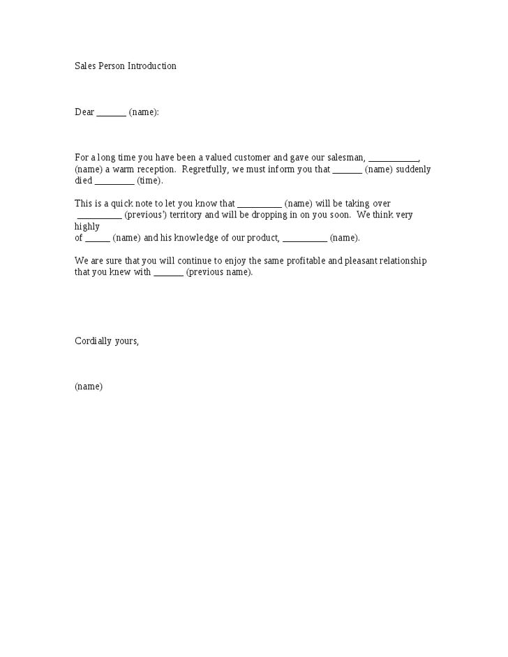 Sales Person Introduction Letter Template - Hashdoc