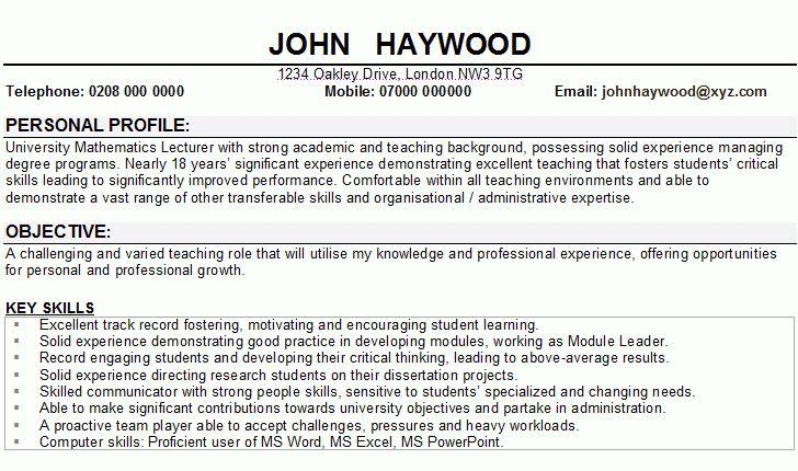 Lecturer CV Sample