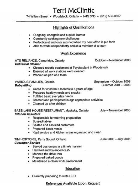 Download Babysitter Resume | haadyaooverbayresort.com
