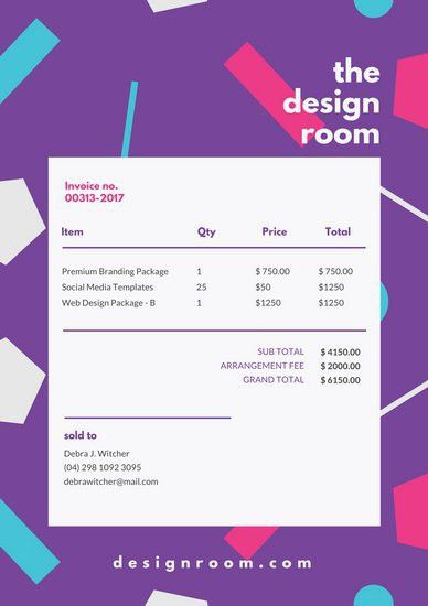Purple Colorful Shapes Invoice Letterhead - Templates by Canva