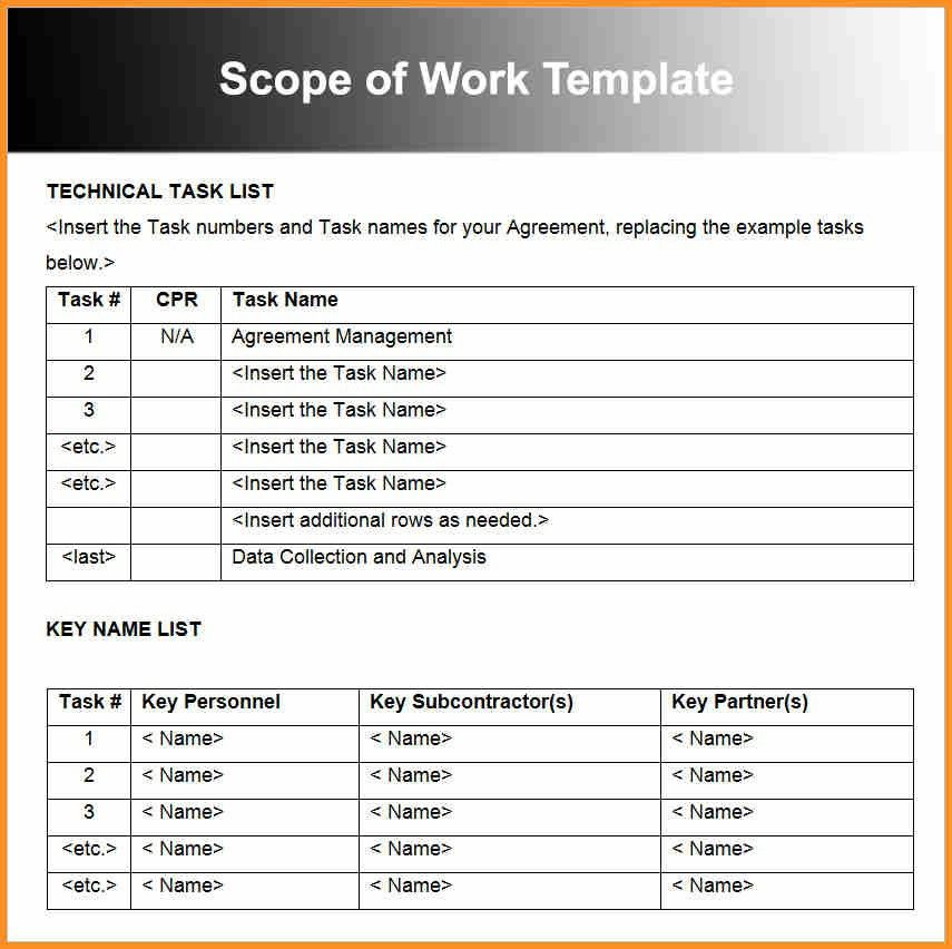 11+ Scope Of Works Template | Cook Resume
