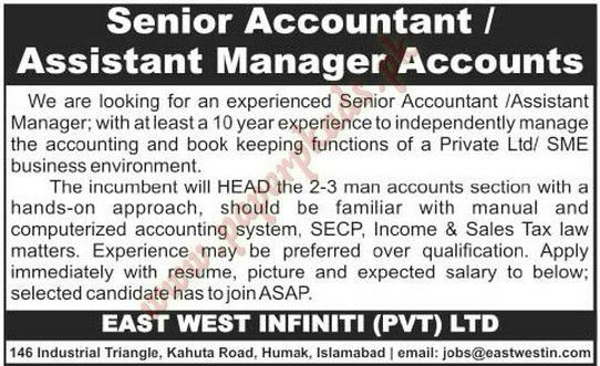 Senior Accountant, Assistant Manager Accounts Jobs - The News Jobs ...