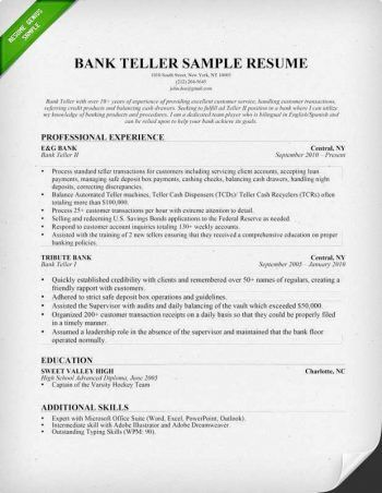 bank teller resume. sample teller resume resume template skills ...