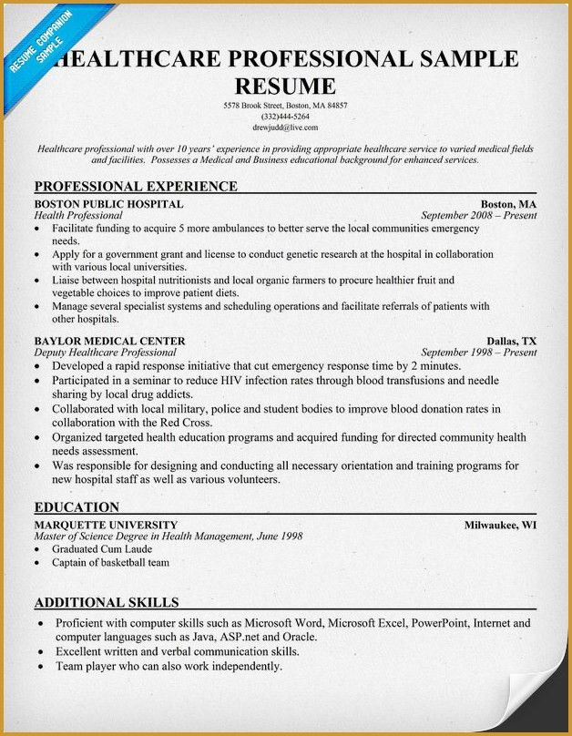 Resume Samples for Healthcare Professionals | RecentResumes.com