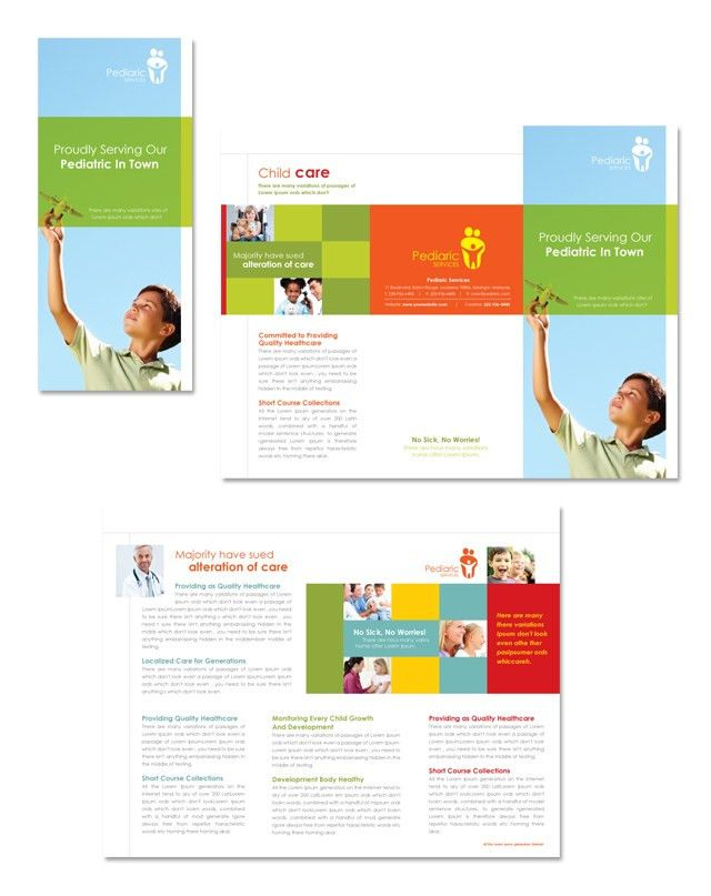 Pediatrician & Child Care Tri Fold Brochure Template | 리플렛 ...