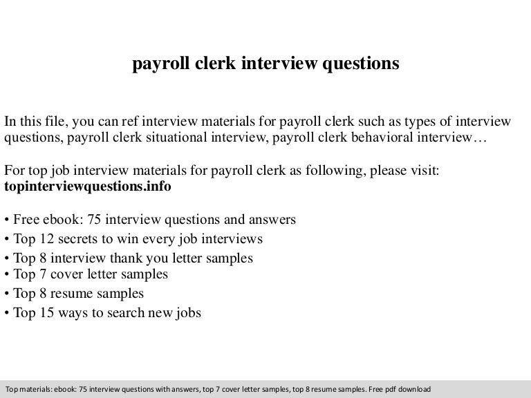 Payroll clerk interview questions