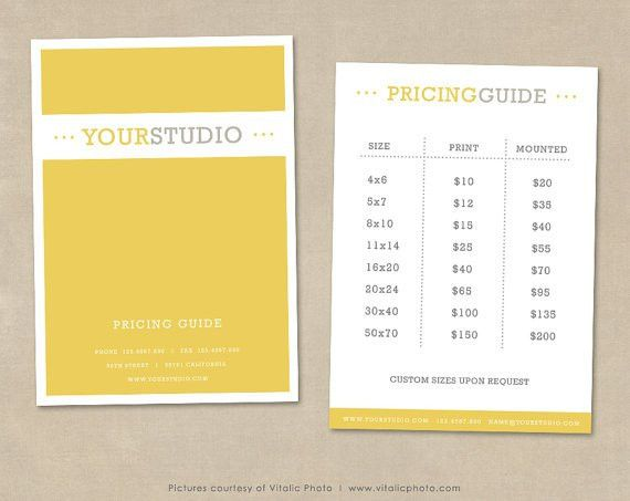 Photography Pricing Guide template - Price List photoshop template ...