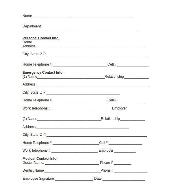 Formal Contact List Template (For Employee). Emergency Contact Forms   11+  Download Free Documents In PDF , Word