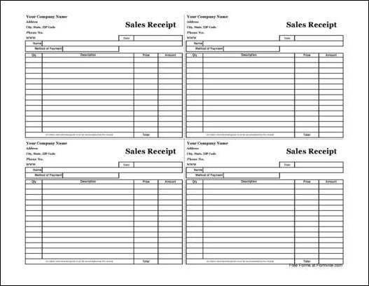 Free Easy-Copy Four-Square Simple Sales Receipt (Wide) from Formville