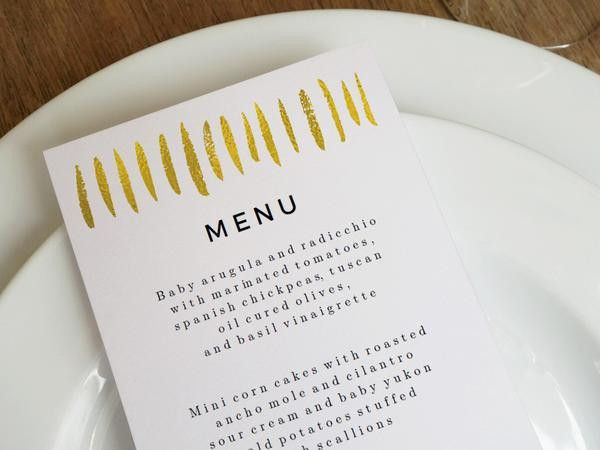 Printable Wedding Menu Template - Gold Strokes – e.m.papers