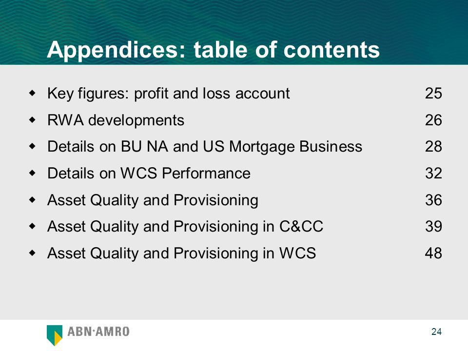 Appendices First Quarter Results Appendices: table of contents ...
