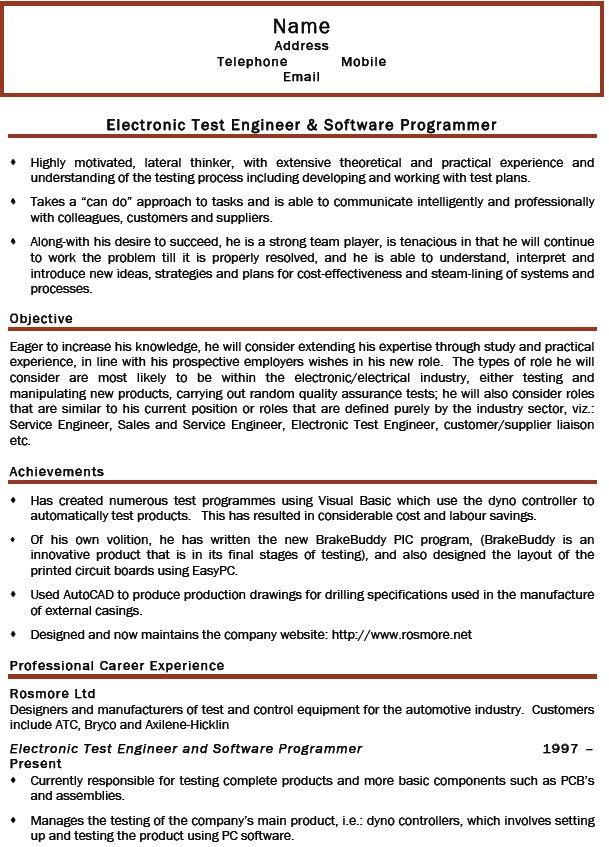 Electronic Test Engineer Sample Resume 19 Emc Test Engineer Sample ...
