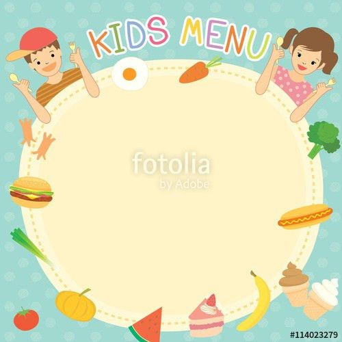 Boy and girl was eating for kids menu template board decoration ...
