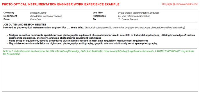 Optical Engineer Cover Letter
