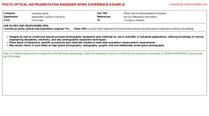 Instrumentation Chemist CV Work Experience Samples