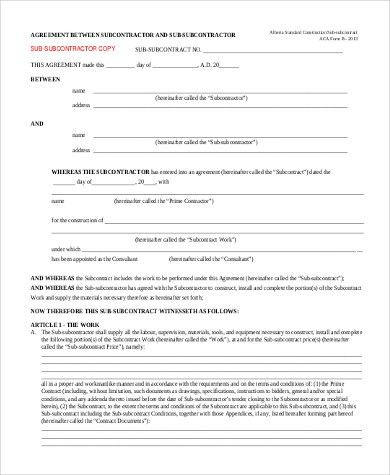Sample Subcontractor Agreement Form- 10+ Free Documents in Word, PDF