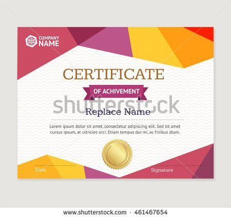 Certificate Template Layout Background Frame Design Stock Vector ...