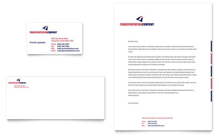 Transportation Company Business Card & Letterhead Template - Word ...