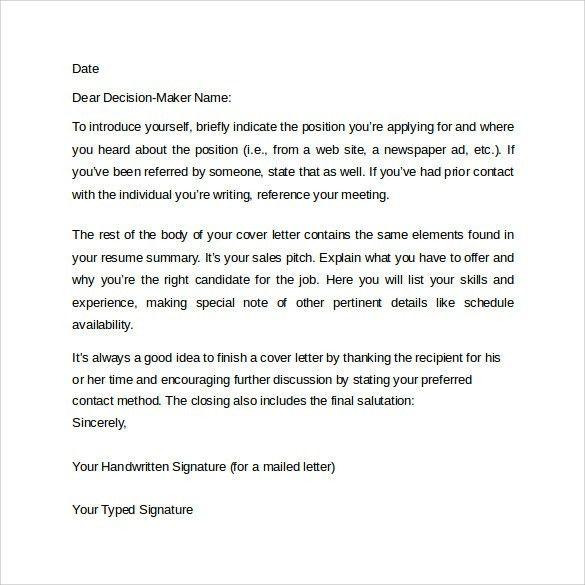 handwritten cover letter
