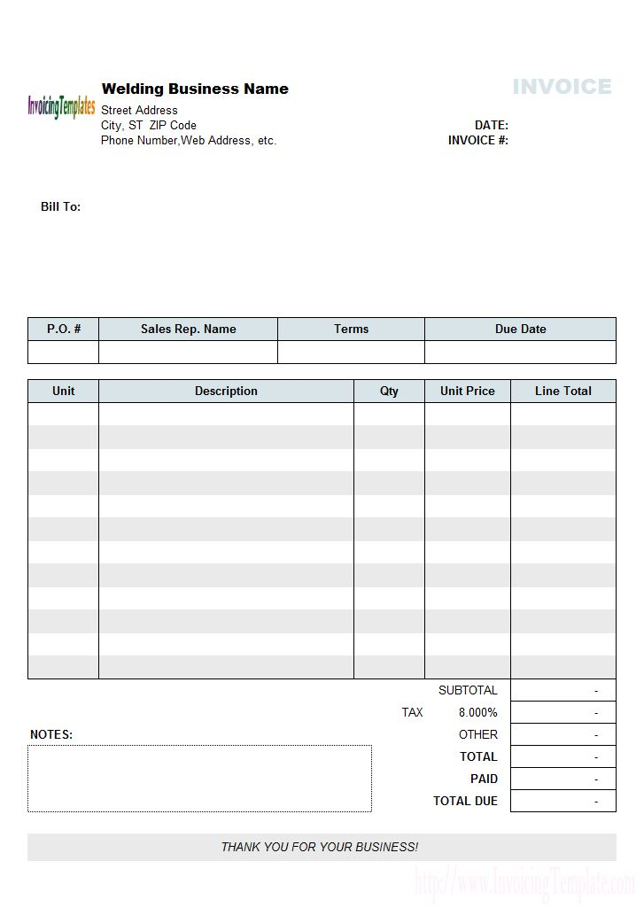 5-Column Invoice Templates