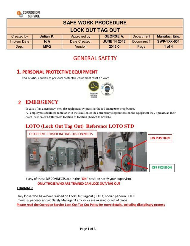 Lock Out Tag Out Safe Work Procedure