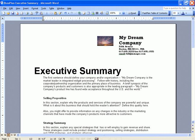 word template executive summary - Budget Template Letter