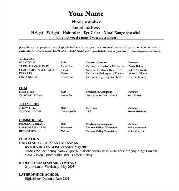 actors resume template sample free acting resume template download ...