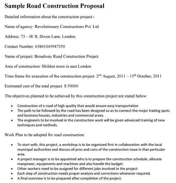 Road Construction Project Proposal