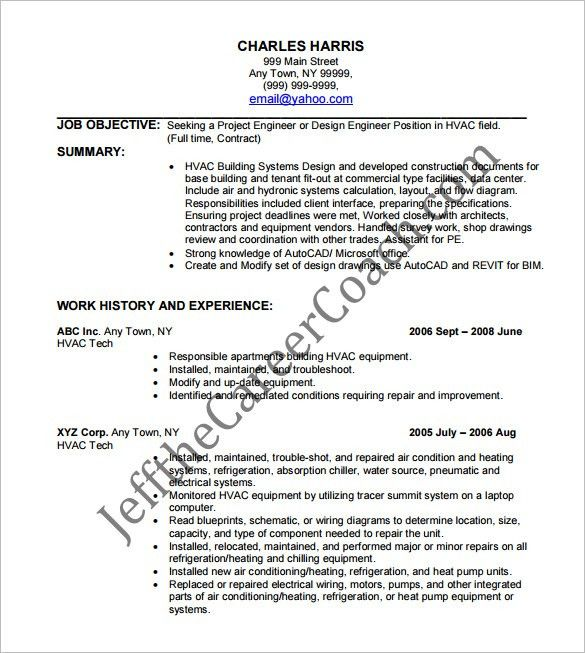 HVAC Resume Template – 10+ Free Word, Excel, PDF Format Download ...