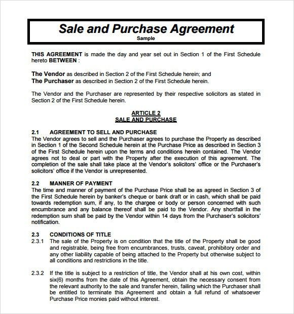 Sample Purchase Agreement - 10+ Examples, Format