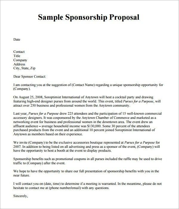 Sample Sponsorship Proposal Template – 15+ Documents In Pdf, Word ...