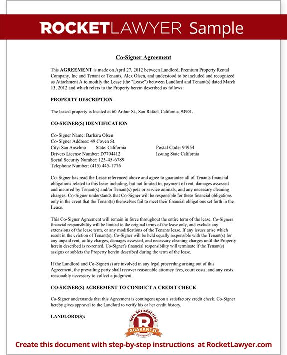 Co-Signer Agreement - Rental Lease Cosigner (with Sample)