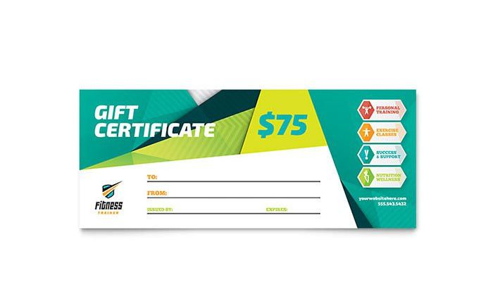 Fitness Trainer Gift Certificate Template Design
